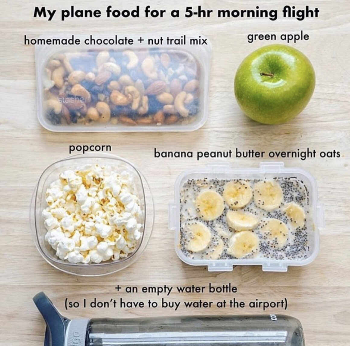 A layout of food. A display of snacks. Healthy snacks layout. Flight food layout.